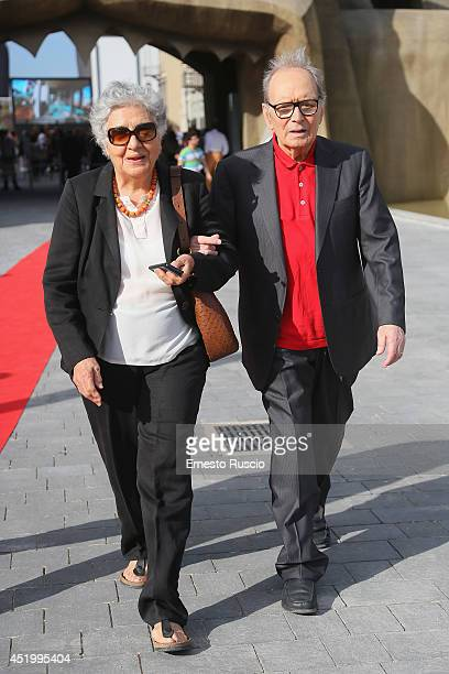 Maria Travia and Ennio Morricone attend the 'Cinecitta' World' Presentation at Ex Studi De Laurentiis on July 10 2014 in Rome Italy