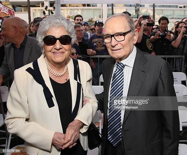 Maria Travia and Ennio Morricone attend The Hateful Eight's Ennio Morricone Star Ceremony On The Hollywood Walk Of Fame at Hollywood Walk Of Fame on...