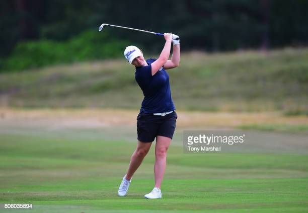 Maria Tulley of Eastbourne Downs Golf Club plays her second shot on the 12th fairway during the Titleist and FootJoy Women's PGA Professional...