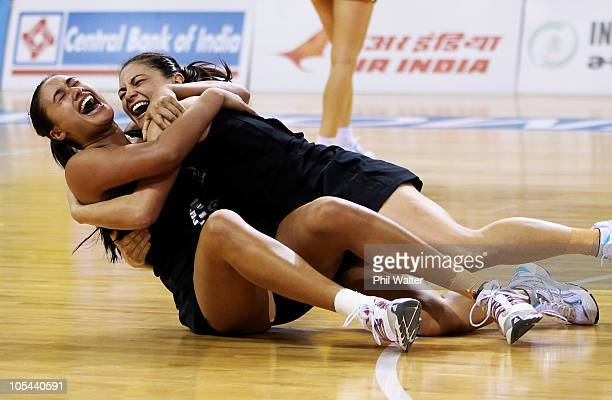 Maria Tutaia and Temepara George of New Zealand celebrate winning the Women Finals Gold medal match between Australia and New Zealand at the...