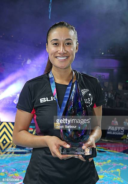 Maria Tutaia captain of New Zealand poses with the trophy after winning the Grand Final of the Fast5 Netball Series between Australia and New Zealand...