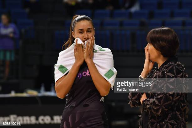 Maria Tutaia of New Zealand and Head Coach Janine Southby of New Zealand reacting after the defeat in the 2017 Constellation Cup match between...