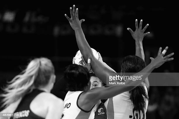 Maria Tutaia of New Zealand looks to pass during the 2015 Netball World Cup match between New Zealand and Uganda at Allphones Arena on August 14 2015...