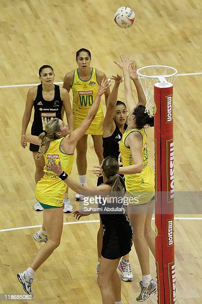 Maria Tutaia of New Zealand shoots and scores during the match between New Zealand and Australia on day eight of the 2011 World Netball Championships...