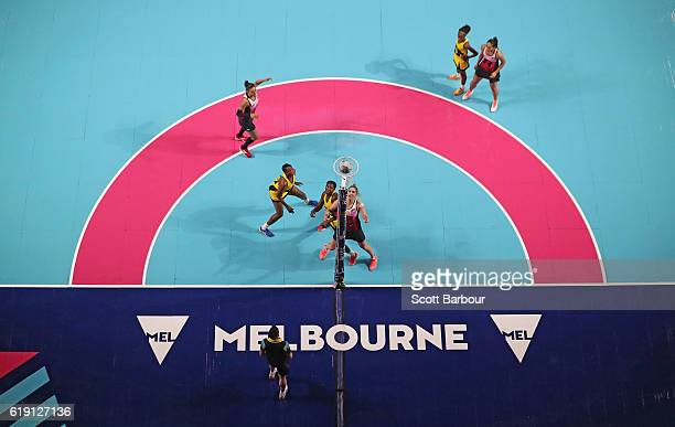 Maria Tutaia of New Zealand shoots for goal during the Fast5 Netball Series match between New Zealand and Jamaica at Hisense Arena on October 30 2016...