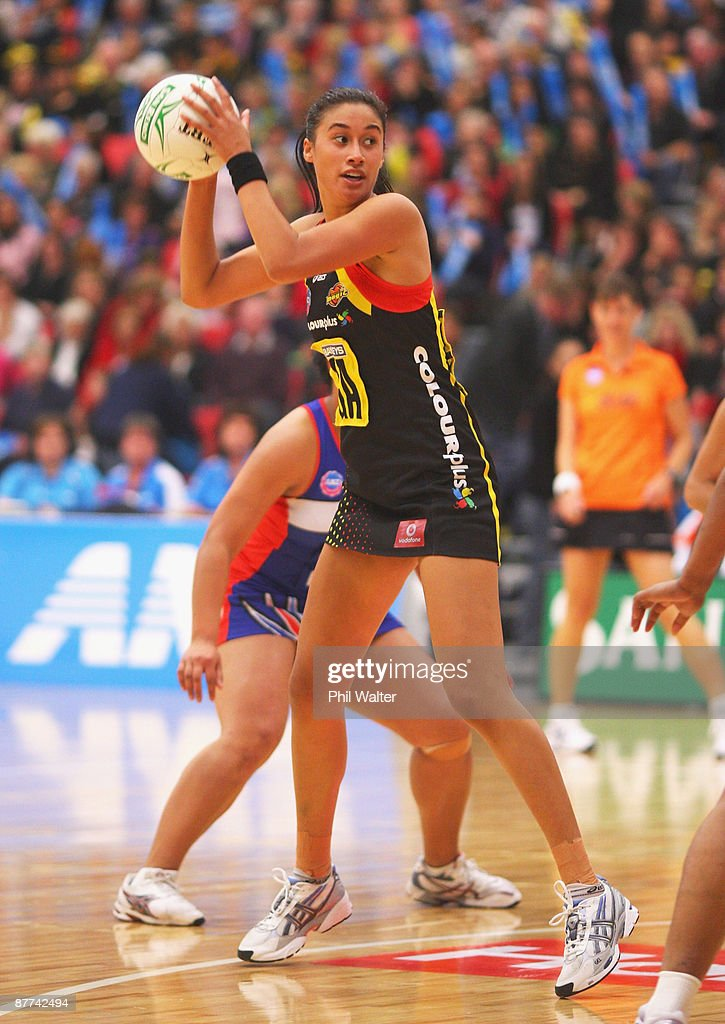 Maria Tutaia of the Magic looks to pass the ball during the round seven ANZ Championship match between the Magic and the Mystics played at the Energy Events Centre on May 18, 2009 in Rotorua, New Zealand.