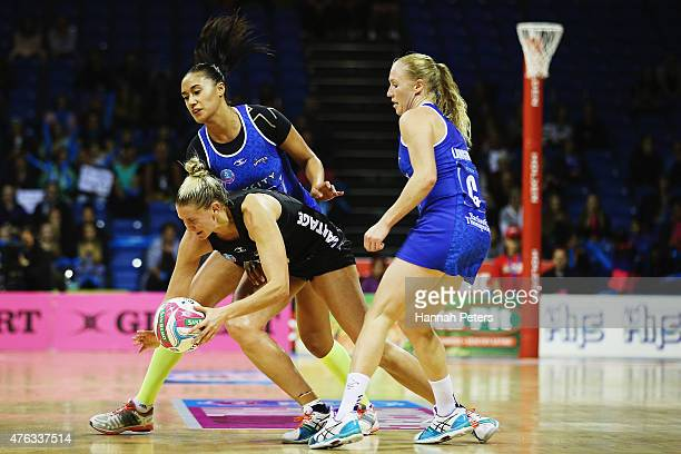 Maria Tutaia of the Mystics defends against Casey Kopua of the Magic during the New Zealand Conference ANZ Championship Final between the Northern...