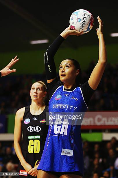 Maria Tutaia of the Mystics shoots during the New Zealand Conference ANZ Championship Final between the Northern Mystics and the Waikato Bay of...