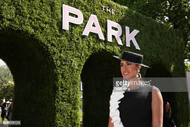 Maria Tutaia poses at The Park on AAMI Victoria Derby Day at Flemington Racecourse on November 4 2017 in Melbourne Australia