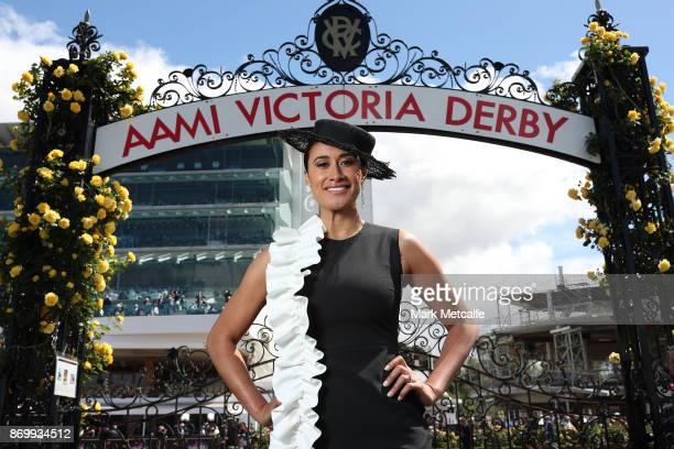 Maria Tutaia poses on AAMI Victoria Derby Day at Flemington Racecourse on November 4 2017 in Melbourne Australia