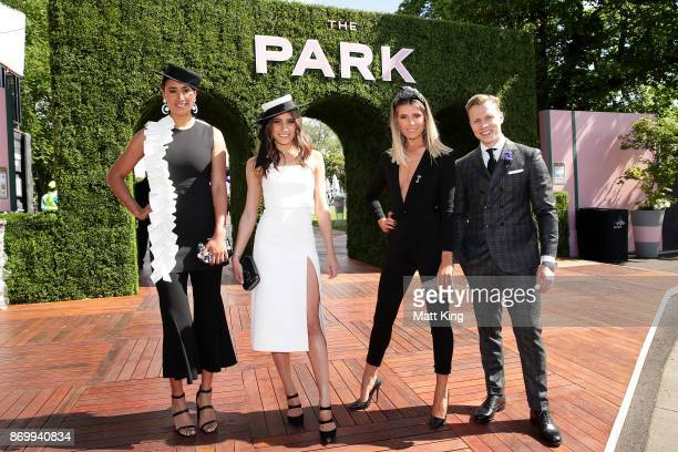 Maria Tutaia Rebecca Harding Georgia Connolly and Dalton Graham pose at The Park on AAMI Victoria Derby Day at Flemington Racecourse on November 4...