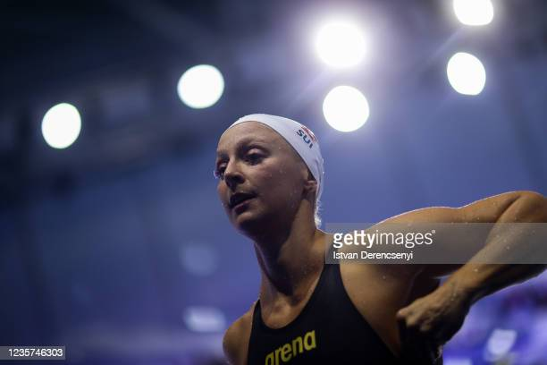 Maria Ugolkova of Switzerland after competing in the Women's 100m Individual Medley heat on day one of the FINA Swimming World Cup in the Duna Arena...