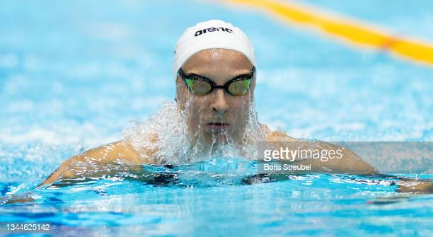 Maria Ugolkova of Switzerland competes in the women's 200m individual medley final during day three of the FINA Swimming World Cup Berlin at Schwimm-...