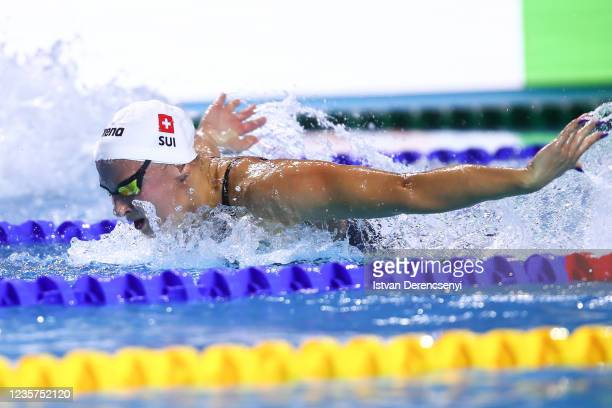 Maria Ugolkova of Switzerland competes in the women's butterfly 200m final on day one at the FINA Swimming World Cup in the Duna Arena on October 07,...