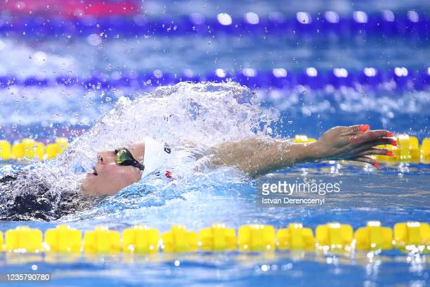 Maria Ugolkova of Switzerland competes in the womens medley 200m final on day three at the FINA Swimming World Cup in the Duna Arena on October 09,...