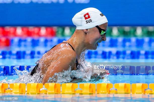Maria Ugolkova of Switzerland competing at the Women 200m Individual Medley Semi-Final during the LEN European Aquatics Championships Swimming at...