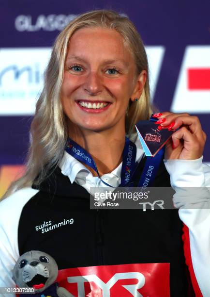 Maria Ugolkova of Switzerland poses with her Bronze medal after finishingthird in the Women's 200m Individual Medley Final during the swimming on Day...