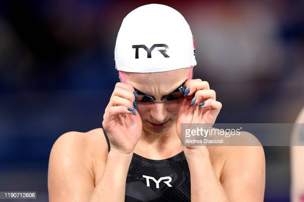 Maria Ugolkova of Switzerland prepares to compete in her women's 400m Individual Medley heat. Maria Ugolkova qualified for the final.