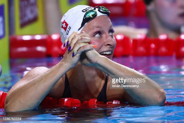 Maria Ugolkova of Switzerland reacts after the race in the women's butterfly 200m final on day one at the FINA Swimming World Cup in the Duna Arena...
