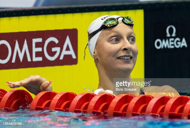 Maria Ugolkova of Switzerland reacts after winning the women's 200m individual medley final during day three of the FINA Swimming World Cup Berlin at...