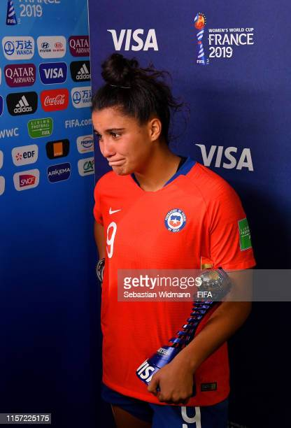 Maria Urrutia of Chile poses with her VISA player of the match award after the 2019 FIFA Women's World Cup France group F match between Thailand and...