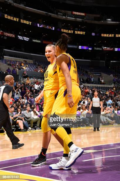 Maria Vadeeva of the Los Angeles Sparks reacts on June 26 2018 at STAPLES Center in Los Angeles California NOTE TO USER User expressly acknowledges...