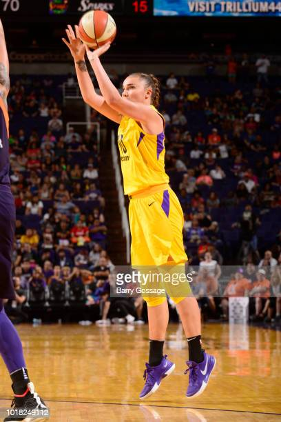 Maria Vadeeva of the Los Angeles Sparks shoots the ball against the Phoenix Mercury on August 12 2018 at Talking Stick Resort Arena in Phoenix...