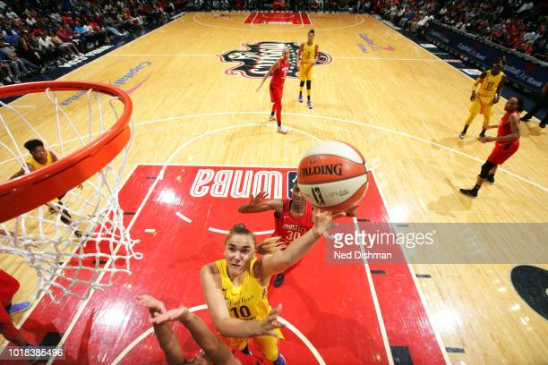 Maria Vadeeva of the Los Angeles Sparks shoots the ball against the Washington Mystics on August 17 2018 at the Capital One Arena in Washington DC...
