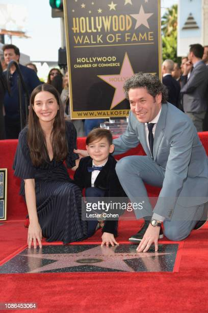 Maria Valverde, Martin Dudamel Maturen and Gustavo Dudamel attend the ceremony honoring Gustavo Dudamel with a star on The Hollywood Walk Of Fame on...