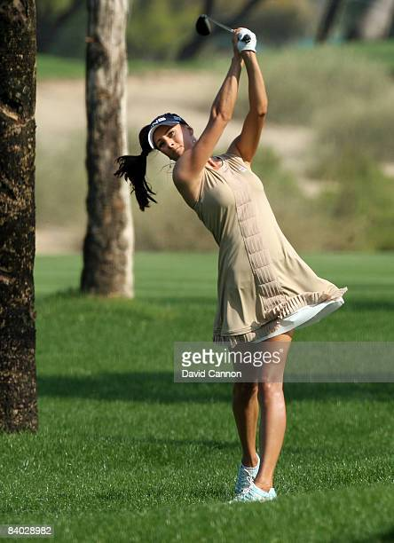 Maria Verchenova of Russia hits her second shot at the 5th hole during the final round of the Dubai Ladies Masters on the Majilis Course at the...