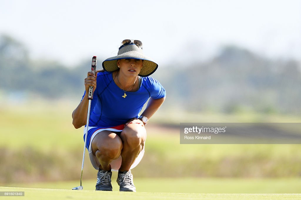 Maria Verchenova of Russia lines up a putt on the 18th green during the First Round of Women's Golf at Olympic Golf Course on Day 12 of the Rio 2016 Olympic Games on August 17, 2016 in Rio de Janeiro, Brazil.