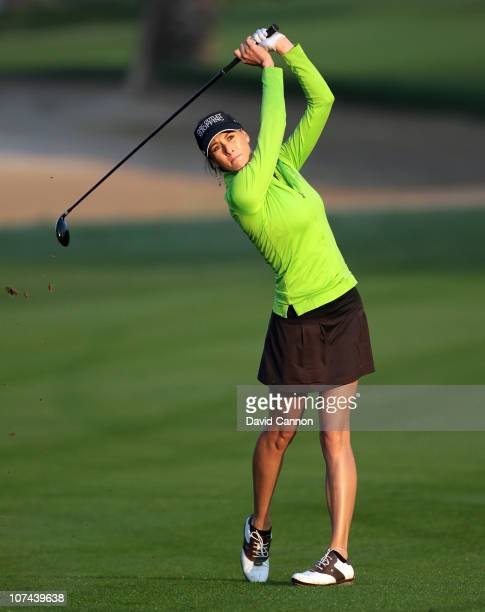 Maria Verchenova of Russia plays her second shot at the 10th hole during the second round of the 2010 Omega Dubai Ladies Masters on the Majilis...