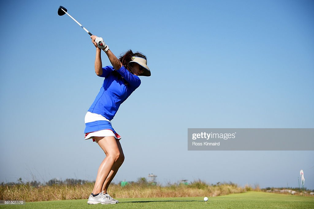 Maria Verchenova of Russia plays her shot from the 18th tee during the First Round of Women's Golf at Olympic Golf Course on Day 12 of the Rio 2016 Olympic Games on August 17, 2016 in Rio de Janeiro, Brazil.