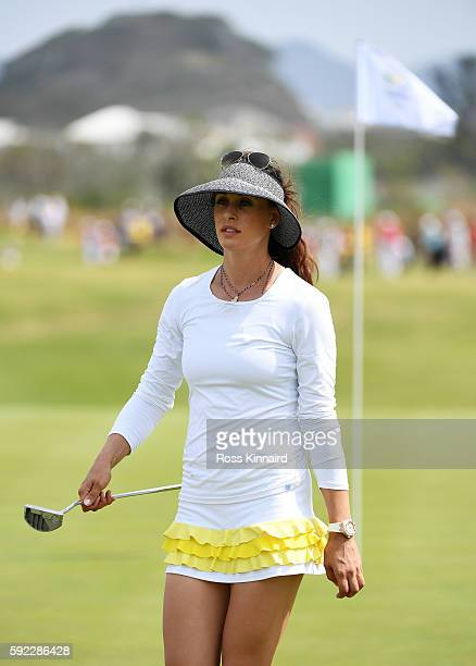 Maria Verchenova of Russia reacts on the seventh green during the Women's Golf Final on Day 15 of the Rio 2016 Olympic Games at the Olympic Golf...