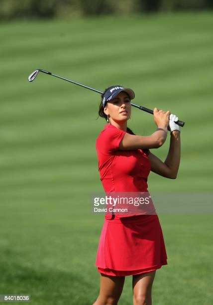 Maria Verchenova of Russia watches her fourth shot at the 3rd hole during the third round of the Dubai Ladies Masters on the Majilis Course at the...