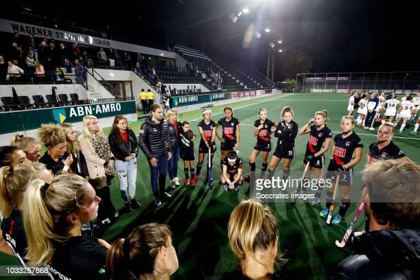 Maria Verschoor of Amsterdam Dames 1 coach Rick Mathijssen of Amsterdam Dames 1 Floor de Haan of Amsterdam Dames 1 Leiah Brigitha of Amsterdam Dames...