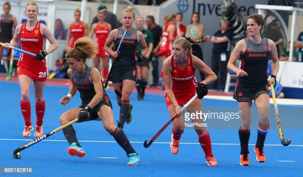 Maria Verschoor of Netherlands during the Investec International match between England Women and Netherlands Women at The Lee Valley Hockey and...