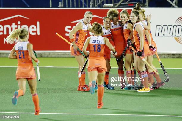 Maria Verschoor of the Netherlands celebrates after scoring a goal during the Hockey World League final between New Zealand and Netherlands at...