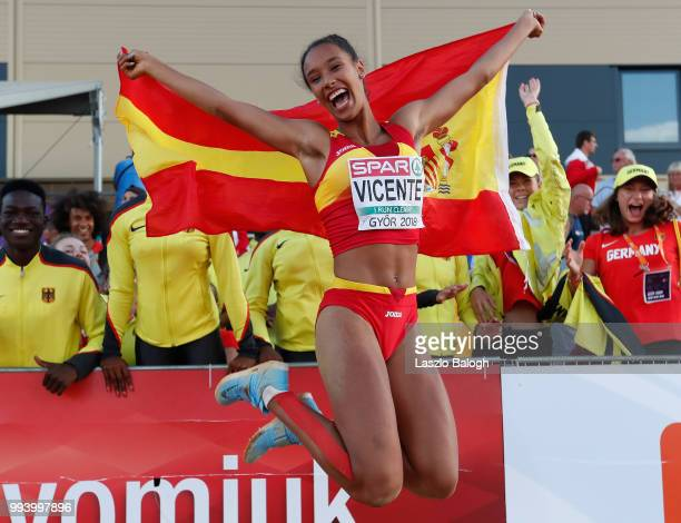 Maria Vicente of Spain celebrates after she won Triple Jump competition during European Atletics U18 European Championship on July 8 2018 in Gyor...