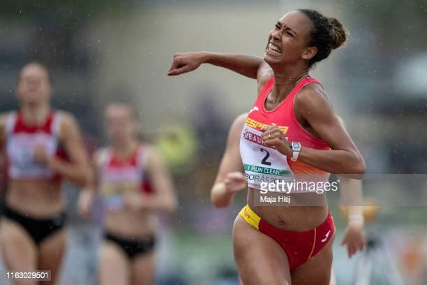 Maria Vicente of Spain celebrates after winning Women Heptathlon on July 19 2019 in Boras Sweden