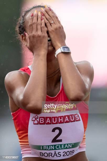 Maria Vicente of Spain celebrates after winning Women Heptathlon on July 19, 2019 in Boras, Sweden.