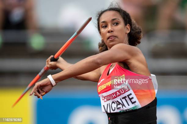 Maria Vicente of Spain competes during Heptathlon Women Javelin Throw on July 19, 2019 in Boras, Sweden.