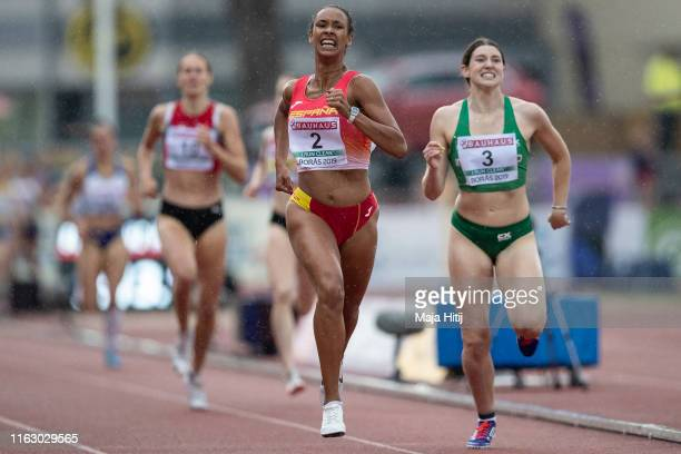 Maria Vicente of Spain crosses the finish line during 800m of Women Heptathlon on July 19, 2019 in Boras, Sweden.