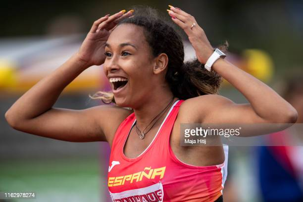 Maria Vicente of Spain reacts during Heptathlon Women Javelin Throw on July 19, 2019 in Boras, Sweden.