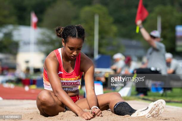 Maria Vicente of Spain reacts during Heptathlon Women Long Jump on July 19, 2019 in Boras, Sweden.