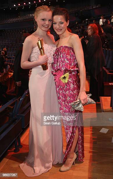Maria Victoria Dragus and Hannah Herzsprung pose with the Lola award after the German film award Gala at Friedrichstadtpalast on April 23 2010 in...