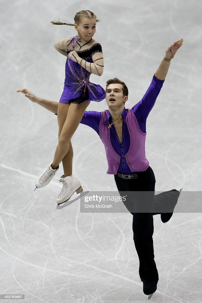 Maria Vigalova and Egor Zakroev of Russia compete in the Junior Pairs Short Program during day one of the ISU Grand Prix of Figure Skating Final 2013/2014 at Marine Messe Fukuoka on December 5, 2013 in Fukuoka, Japan.