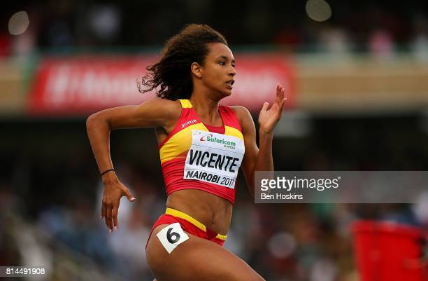 Maria Vincente of Spain in action during the 200m in the girls heptathlon on day three of the IAAF U18 World Championships at the Kasarani Stadium on...