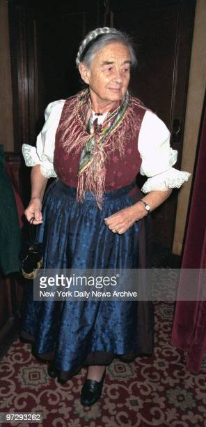 Maria von Trapp arrives for opening night of The Sound of Music at the Martin Beck Theater A party was held to celebrate the 85th birthday of Agathe...