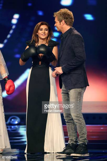 Maria Voskania and Oliver Geissen during the fourth event show and semi finals of the tv competition 'Deutschland sucht den Superstar' at Coloneum on...